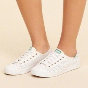 KEDS LEATHER PERFORATED WHITE SNEAKERS SZ 8.5
